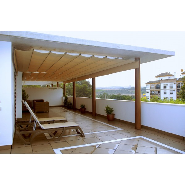 Pergolas de pared trendy prgola modelo entre paredes with - Techos de pergolas ...